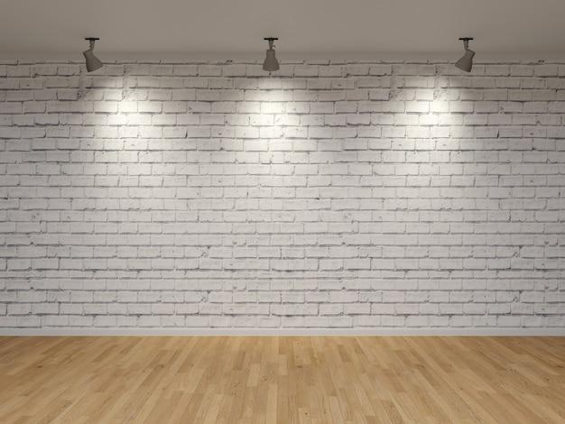 Premium Photo White Brick Wall Sport Light Wood Floor 3d Render