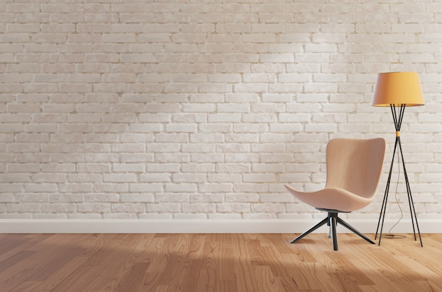 White brick wall and wooden floor,mock up, copy space,3d rendering Premium Photo