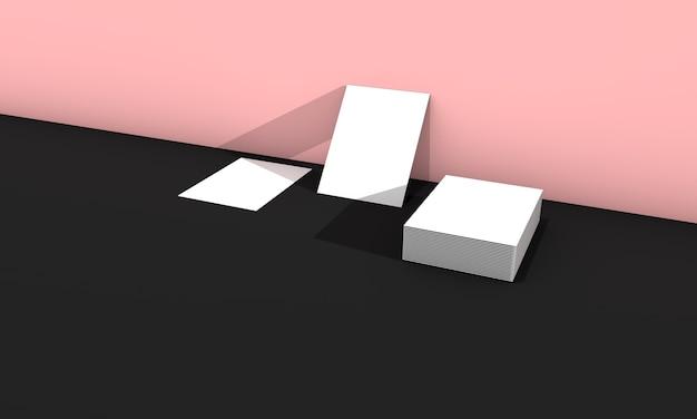 분홍색에 흰색 명함입니다. 3d 렌더링. 프리미엄 사진