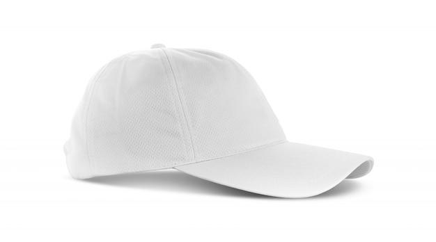 White canvas fabric cap isolated on white background Premium Photo