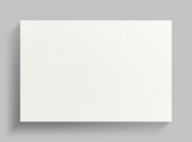 White canvas frame on gray wall background. Premium Photo