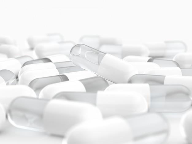 White capsule pill, medical Premium Photo