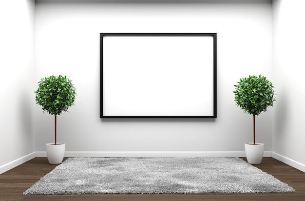 White carpet in white wooden floor on a white empty room. 3d rendering Premium Photo