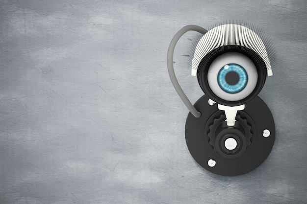 The white cctv system installed on the cement wall with the eyes instead of the camera lens Premium Photo