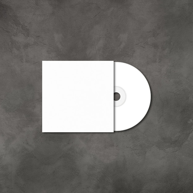 White cd - dvd label and cover mockup template isolated on concrete background Premium Photo