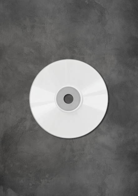 White cd - dvd label mockup template isolated on concrete background Premium Photo