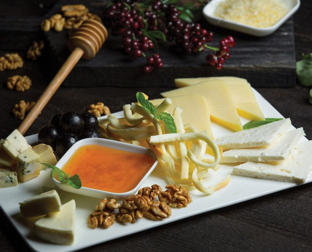 White ceramic cheese plate with different kinds of cheese, nuts and honey Free Photo