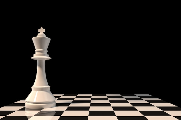White chess king figure on chessboard in 3d rendering Premium Photo