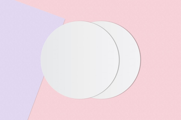 White circle paper and space for text on pastel color background Premium Photo