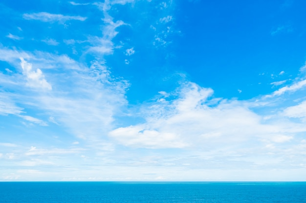White cloud on blue sky with sea and ocean Free Photo