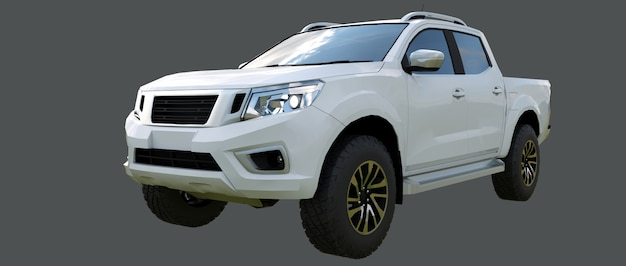 White commercial vehicle delivery truck with a double cab. machine without insignia with a clean empty body to accommodate your logos and labels. 3d rendering. Premium Photo