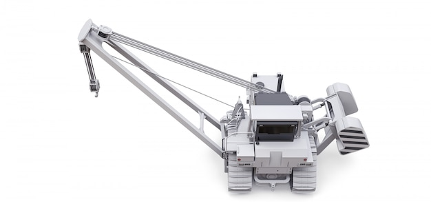 White crawler crane with side boom Premium Photo