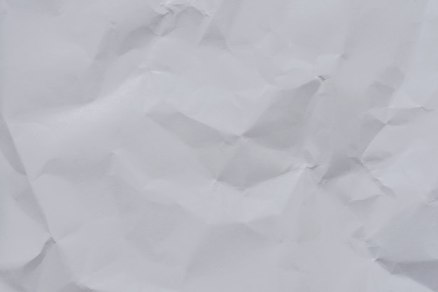 white crumpled paper background and texture wrinkled creased paper