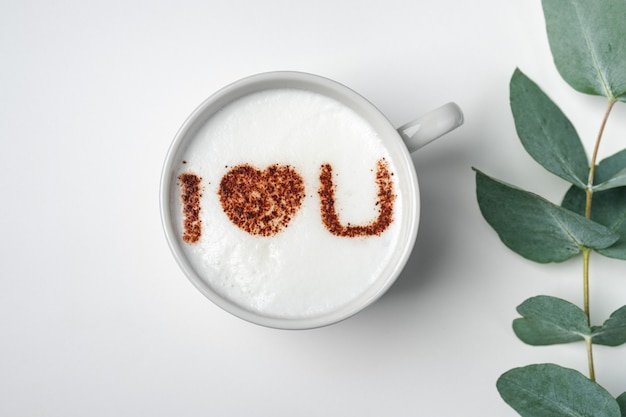 White cup of coffee with the inscription on the foam - i love you and branch with eucalyptus leaves Premium Photo