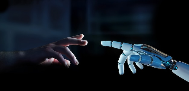 White cyborg finger about to touch human finger 3d rendering Premium Photo