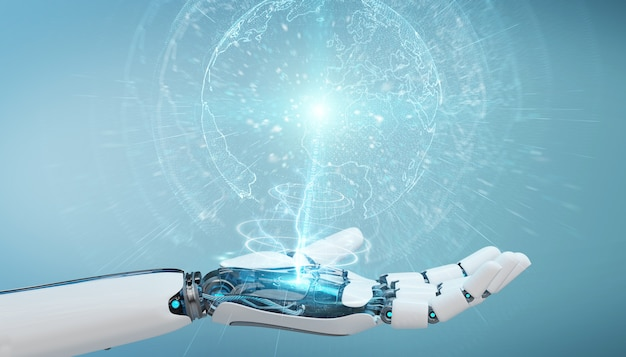 White cyborg hand using planet earth interface 3d rendering Premium Photo