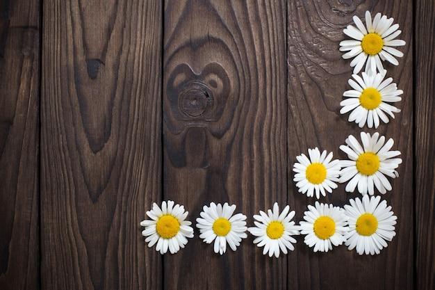White daisies on old wooden background Premium Photo