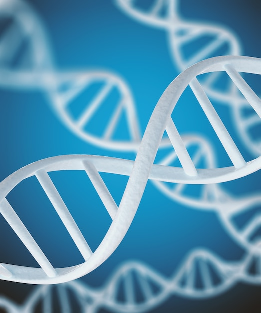 White dna structure isolated background. Premium Photo