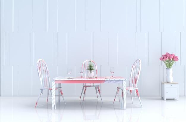 White eating roomof love on valentine's day. new year. 3d render. Premium Photo