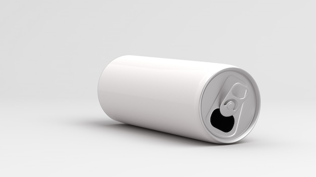 White empty can on white background 3d render Premium Photo