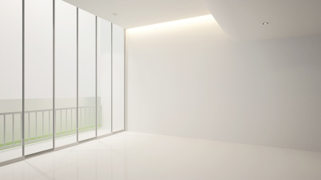 White empty room and balcony for artwork , terior   3d Premium Photo