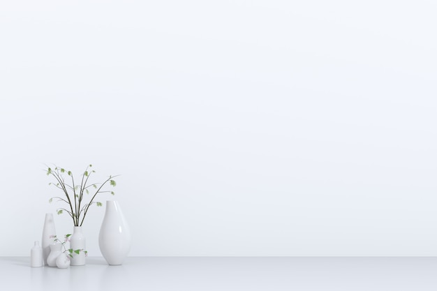White empty room with plant.3d rendering, 3d illustration Premium Photo