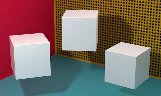 影付きの白い空の単純な段ボール箱 Premium写真