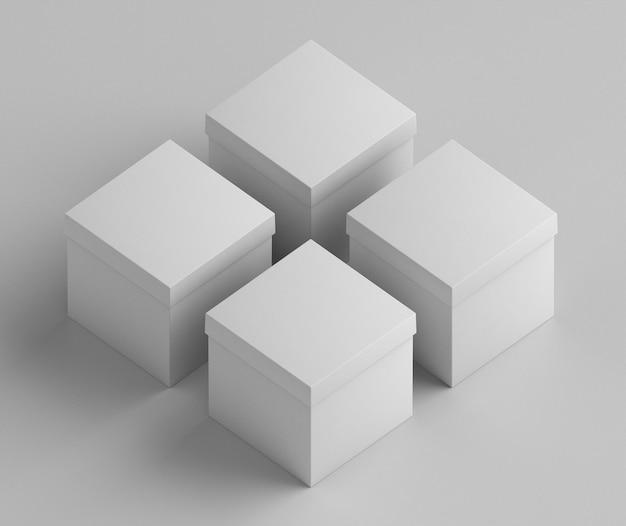 White empty simplistic square cardboard boxes Free Photo