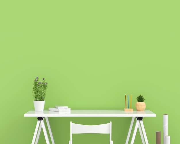White empty table in green room for mockup Premium Photo