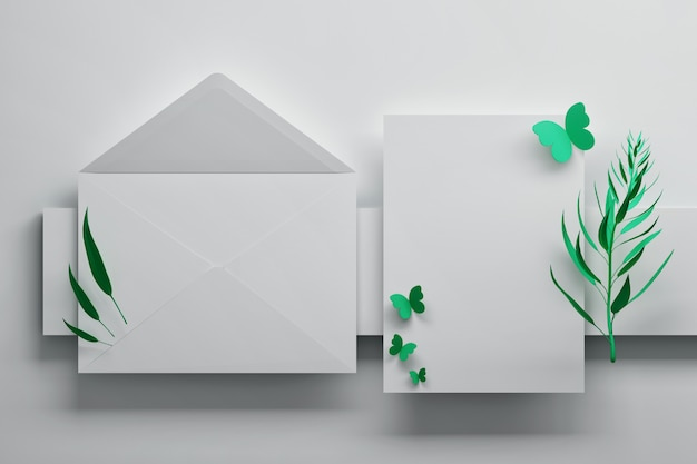White envelope and greeting invitation card with butterflies Premium Photo
