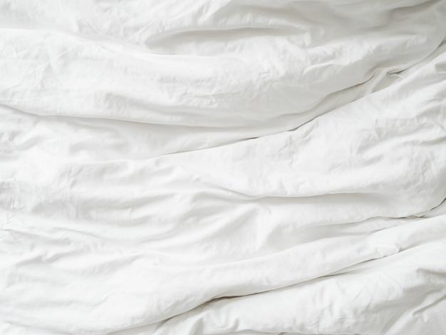 Белая ткань текстуры морщинистой текстуры Premium Фотографии