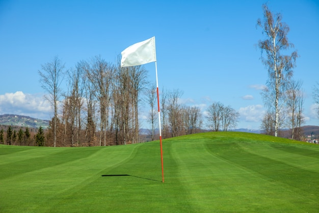 White flag in the center of a golf course in otocec, slovenia Free Photo