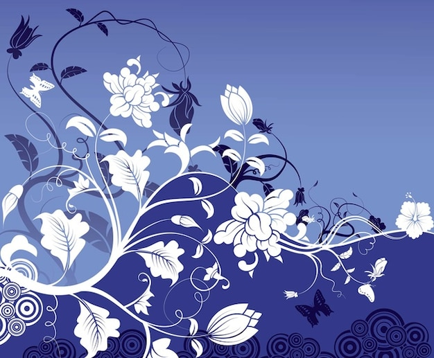 White flowers and leaves on blue background