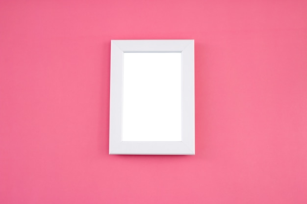 White frame mock up on pink background. Premium Photo