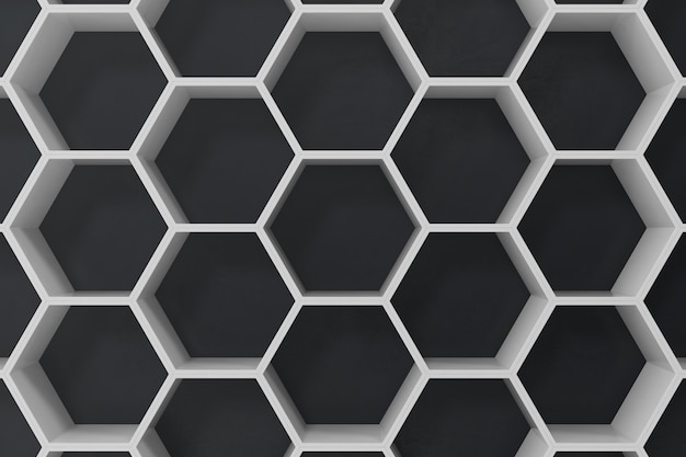 White geometric hexagonal abstract background with black wall, 3d rendering Premium Photo