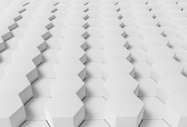 육각형 모양의 흰색 기하학적 벽지 무료 사진