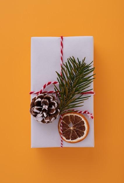 빨간 리본, 전나무 가지, 솔방울, 말린 오렌지 조각으로 장식 된 흰색 선물 상자 무료 사진