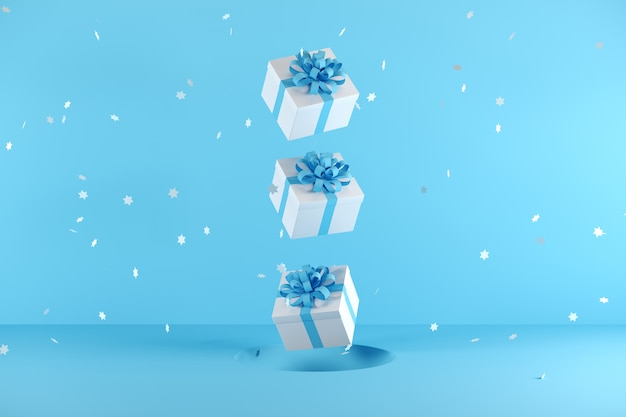 White gift box with blue ribbon color floating on blue background Premium Photo