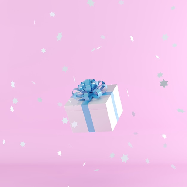White gift box with blue ribbon on pink background Premium Photo