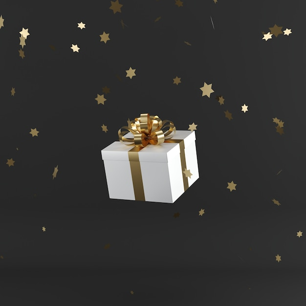 White gift box with golden color ribbon on black color background Premium Photo