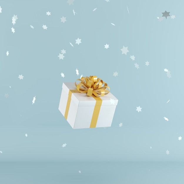 White gift box with orange color ribbon on blue color background Premium Photo