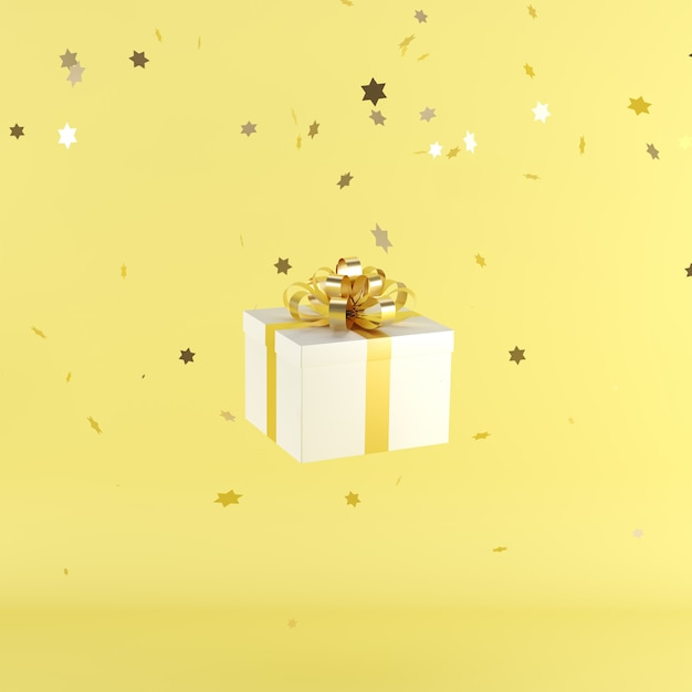 White gift box with yellow color ribbon on yellow color background Premium Photo
