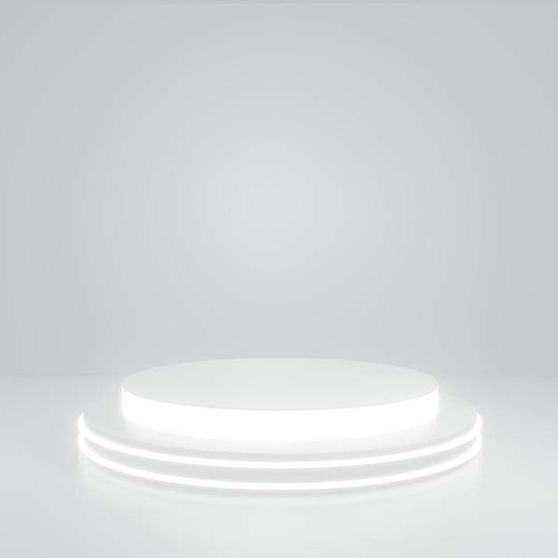 白い部屋の白いグローシリンダー製品スタンド、製品のスタジオシーン、最小限のデザイン、3dレンダリング Premium写真