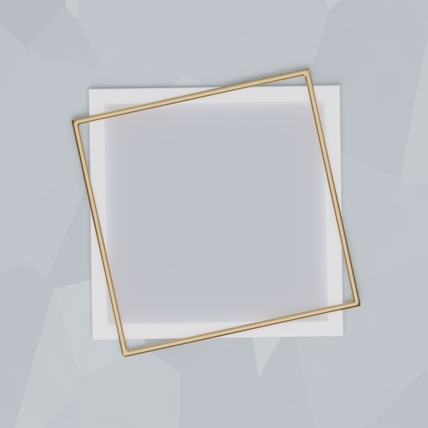 White and gold frame on a gray background. for presentations, mockups, 3d render Premium Photo