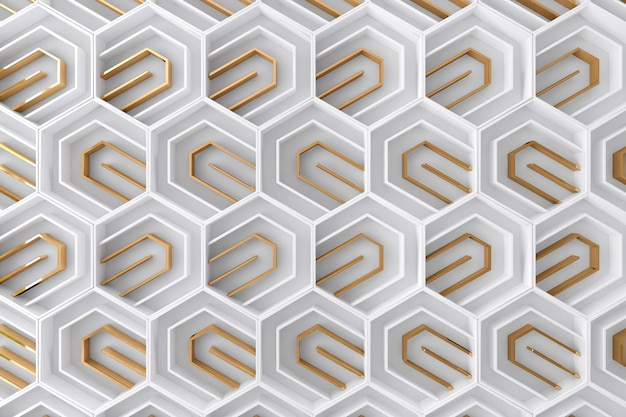 White and gold tridimensional background Premium Photo