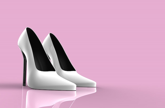 White high heel women shoes Premium Photo