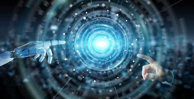 White humanoid hand using digital global network 3d rendering Premium Photo