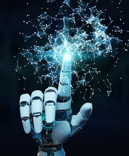 White humanoid hand using digital globe hud interface 3d rendering Premium Photo