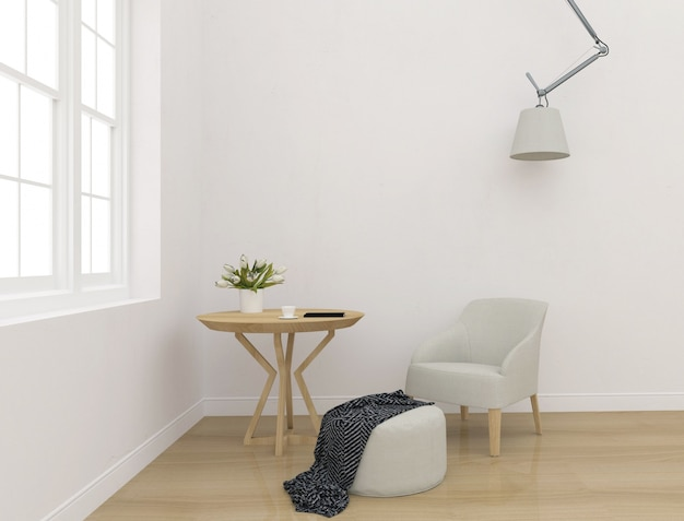 White interior - blank wall mockup - wall art display Premium Photo
