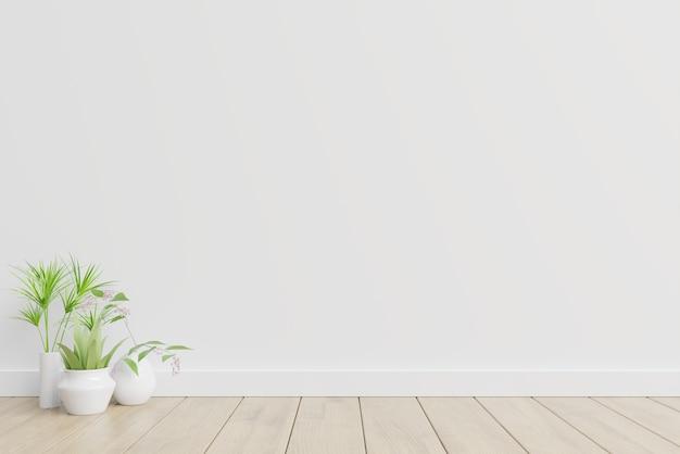White interior design with plants on a floor. Premium Photo